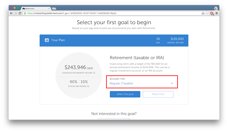 Betterment investment account type - default selection