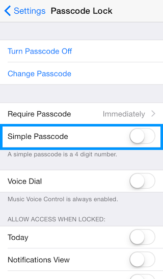 Disable simple password for increased iPhone security