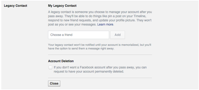 A screenshot of Facebook's trusted contact form