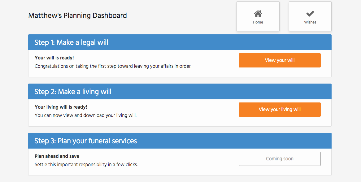 Screenshot of the Willing app dashboard